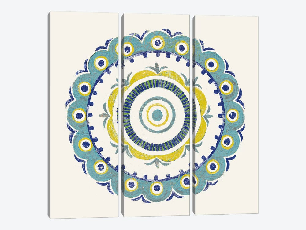 Lakai Circle II, Blue And Yellow by Kathrine Lovell 3-piece Canvas Wall Art
