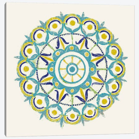 Lakai Circle V, Blue And Yellow Canvas Print #WAC8494} by Kathrine Lovell Art Print