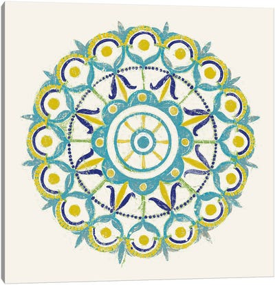 Lakai Circle V, Blue And Yellow Canvas Art Print