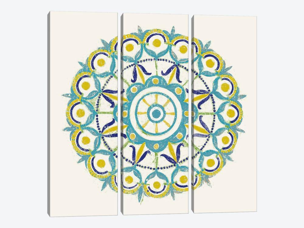 Lakai Circle V, Blue And Yellow by Kathrine Lovell 3-piece Canvas Art Print
