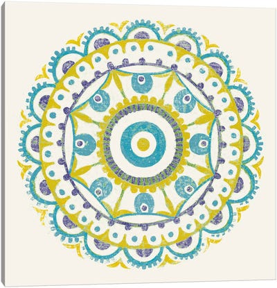Lakai Circle VI, Blue And Yellow Canvas Art Print