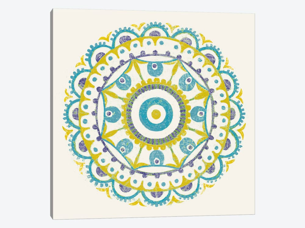Lakai Circle VI, Blue And Yellow by Kathrine Lovell 1-piece Canvas Artwork