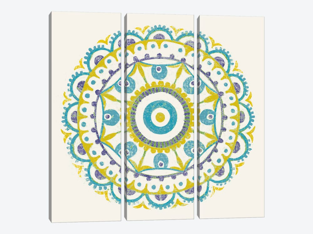 Lakai Circle VI, Blue And Yellow by Kathrine Lovell 3-piece Canvas Wall Art