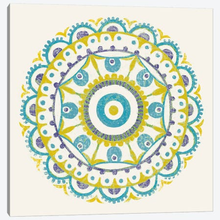Lakai Circle VI, Blue And Yellow Canvas Print #WAC8495} by Kathrine Lovell Canvas Art Print