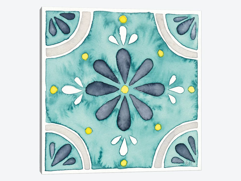 Garden Getaway Tile I Teal by Laura Marshall 1-piece Canvas Art