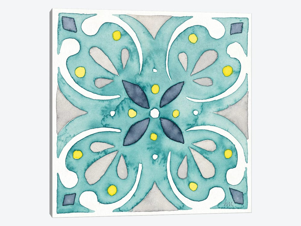 Garden Getaway Tile IV Teal by Laura Marshall 1-piece Canvas Art Print