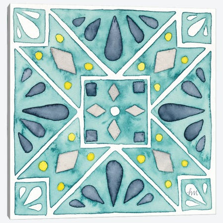 Garden Getaway Tile IX Teal Canvas Print #WAC8527} by Laura Marshall Canvas Print