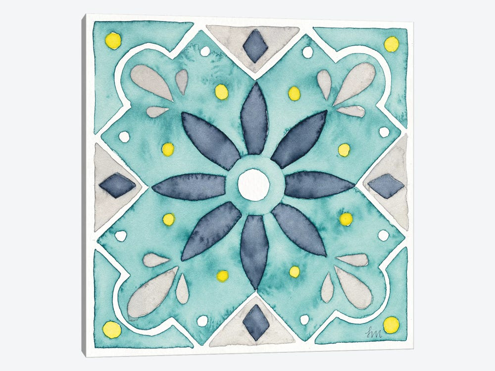 Garden Getaway Tile V Teal by Laura Marshall 1-piece Canvas Art Print