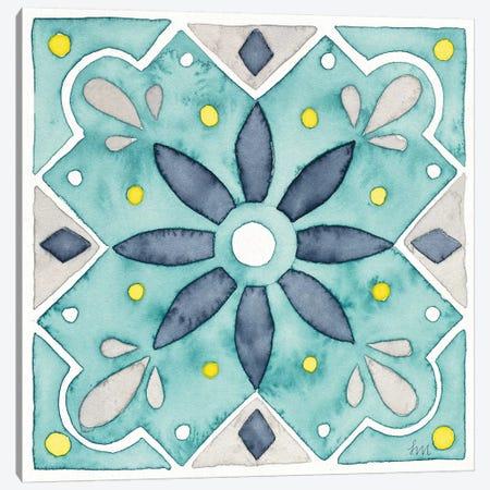 Garden Getaway Tile V Teal Canvas Print #WAC8528} by Laura Marshall Canvas Wall Art