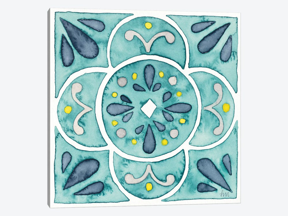 Garden Getaway Tile VII Teal by Laura Marshall 1-piece Canvas Wall Art