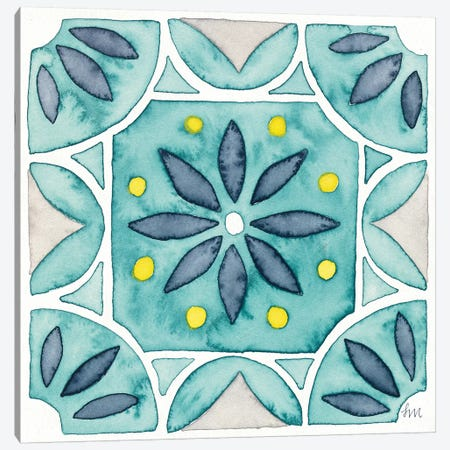 Garden Getaway Tile VIII Teal Canvas Print #WAC8531} by Laura Marshall Canvas Art Print