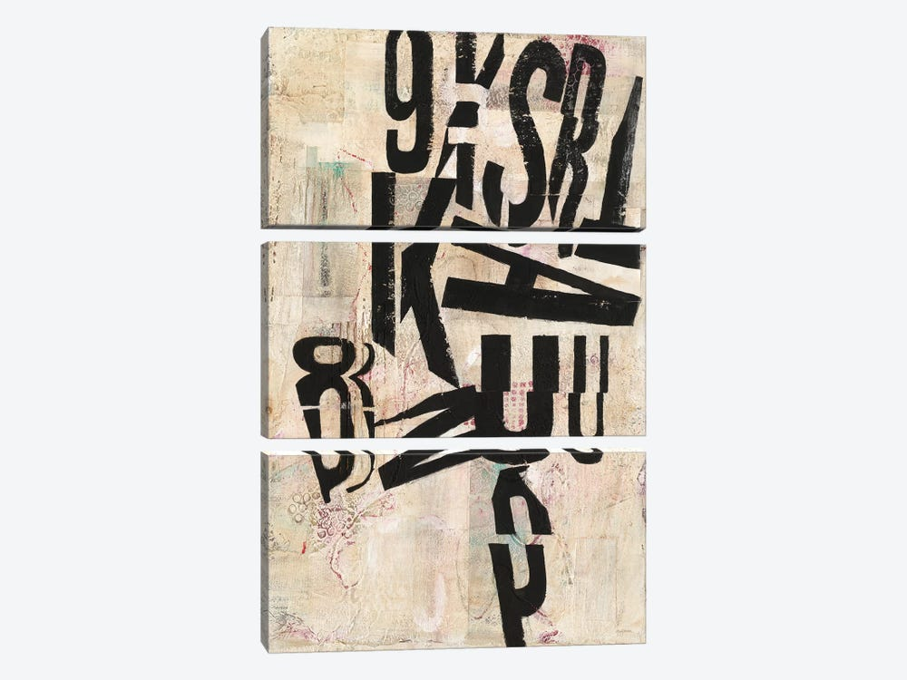 Type Abstraction I by Mary Urban 3-piece Canvas Art Print