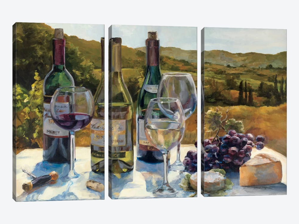 A Wine Tasting by Marilyn Hageman 3-piece Canvas Print