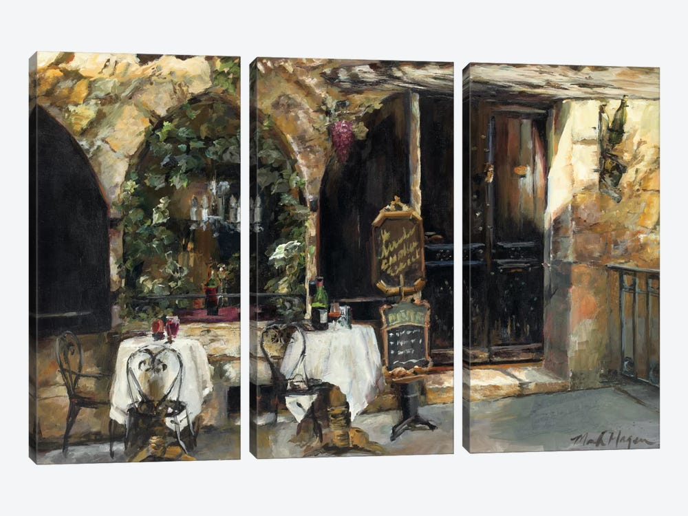 Meeting at the Cafe by Marilyn Hageman 3-piece Canvas Wall Art
