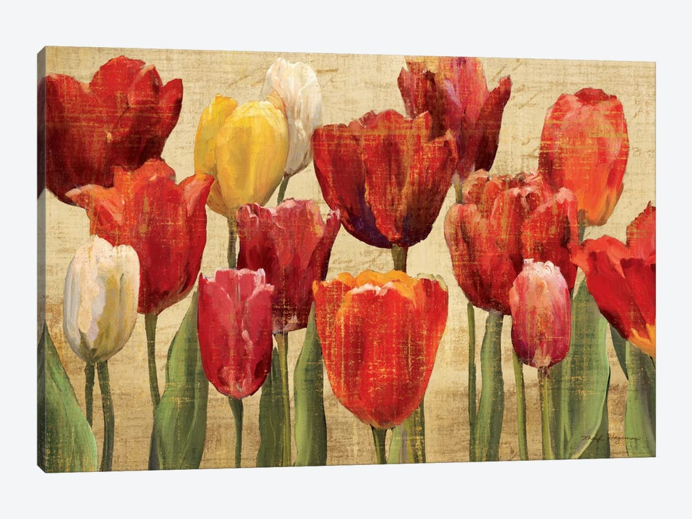 Tulip Fantasy on Cream  by Marilyn Hageman 1-piece Canvas Print