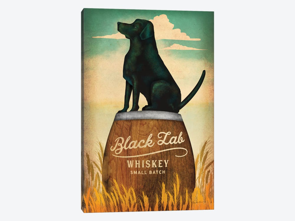 Black Lab Whiskey by Ryan Fowler 1-piece Canvas Wall Art