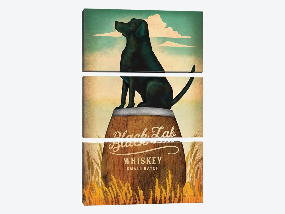 Black Lab Whiskey by Ryan Fowler 3-piece Canvas Wall Art