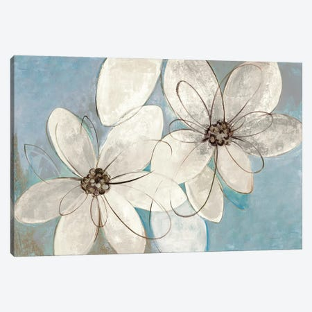 Blue And Neutral Floral Canvas Print #WAC8605} by Silvia Vassileva Canvas Art