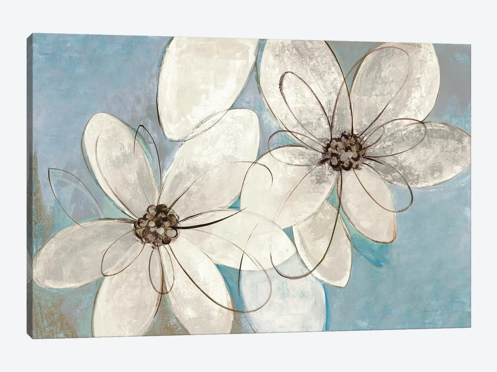 Blue And Neutral Floral by Silvia Vassileva 1-piece Canvas Artwork