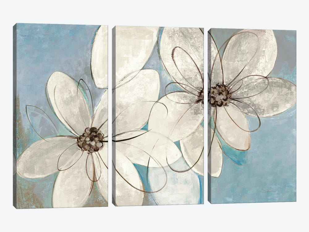 Blue And Neutral Floral by Silvia Vassileva 3-piece Canvas Art
