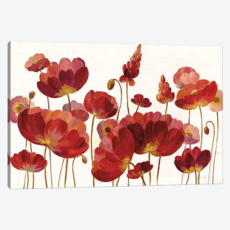 Red Flowers On White Canvas Print #WAC8610} by Silvia Vassileva Canvas Wall Art