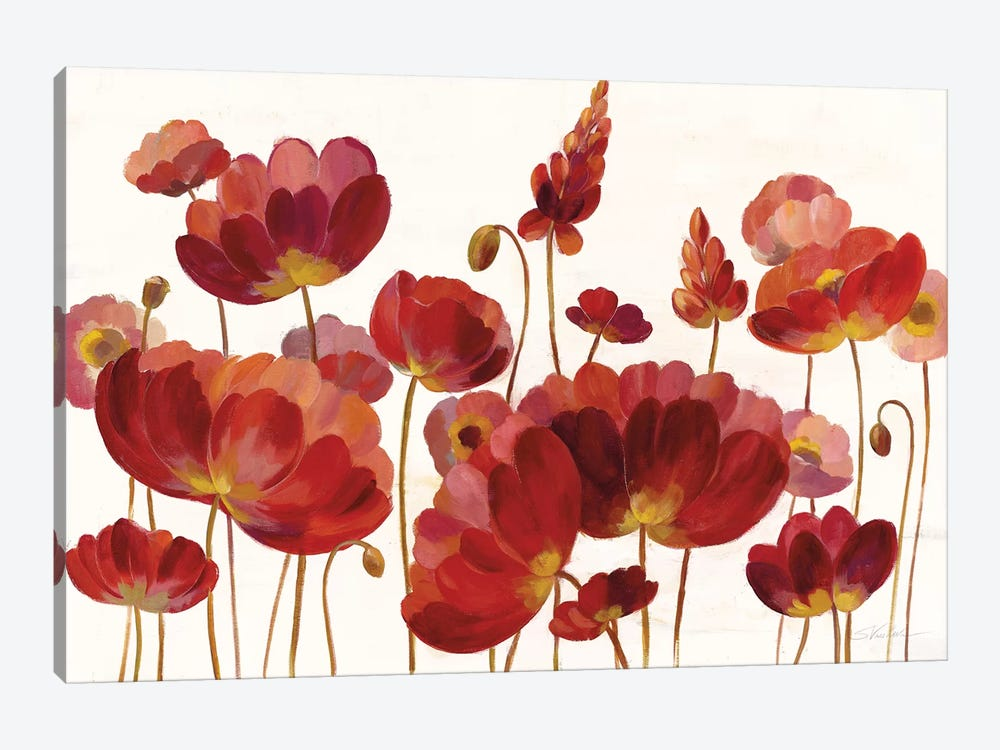 Red Flowers On White by Silvia Vassileva 1-piece Canvas Wall Art