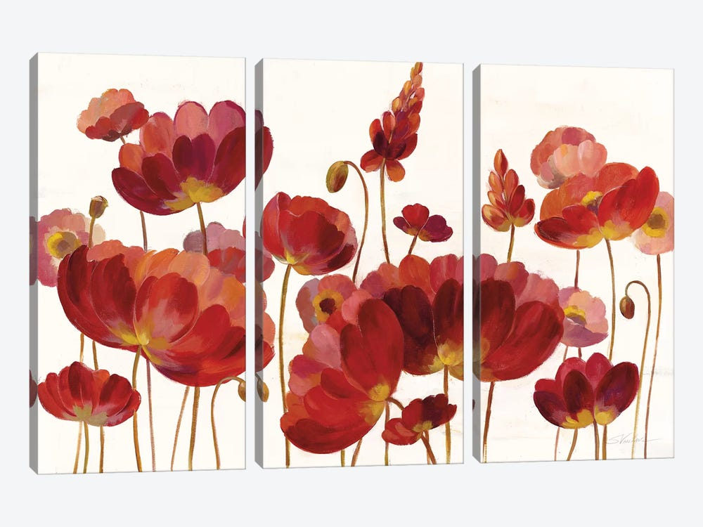 Red Flowers On White by Silvia Vassileva 3-piece Canvas Wall Art