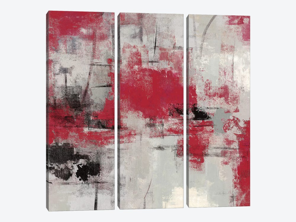 Stone Gardens III Red 3-piece Canvas Wall Art
