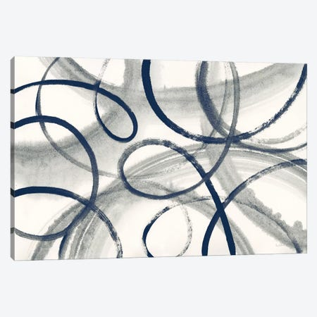 Calligraphia With Navy Canvas Print #WAC8624} by Sue Schlabach Canvas Wall Art