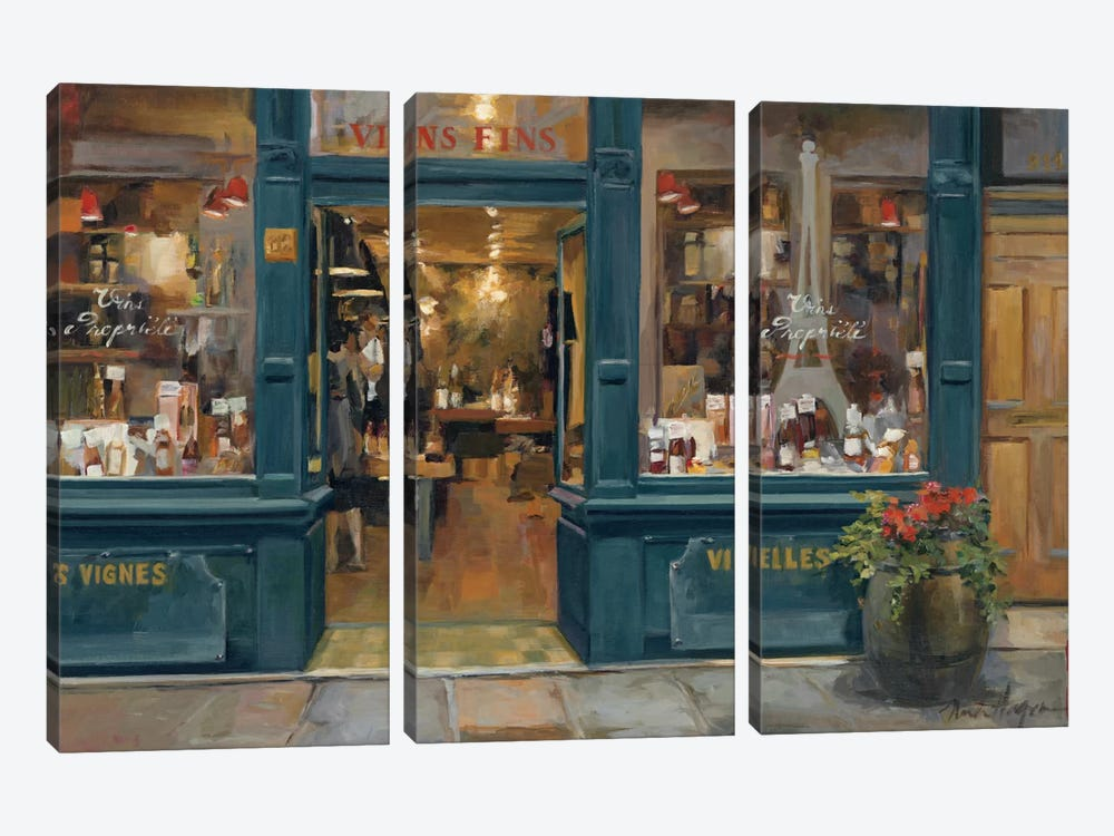 Parisian Wine Shop by Marilyn Hageman 3-piece Canvas Artwork