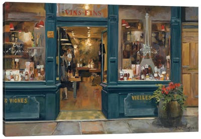 Parisian Wine Shop Canvas Art Print