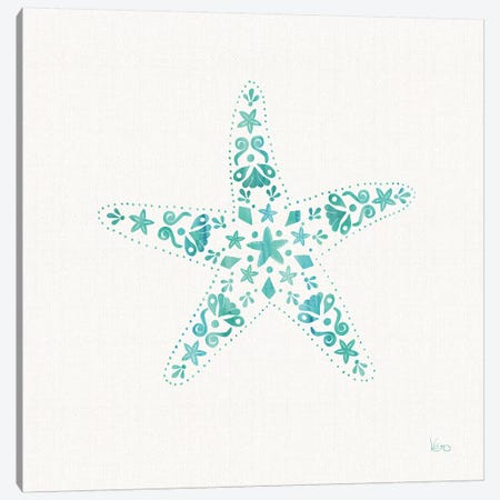 Sea Charms I Teal, No Words Canvas Print #WAC8642} by Veronique Charron Art Print