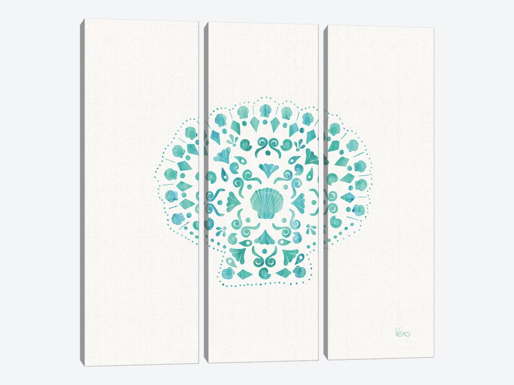 Sea Charms III Teal, No Words by Veronique Charron 3-piece Art Print
