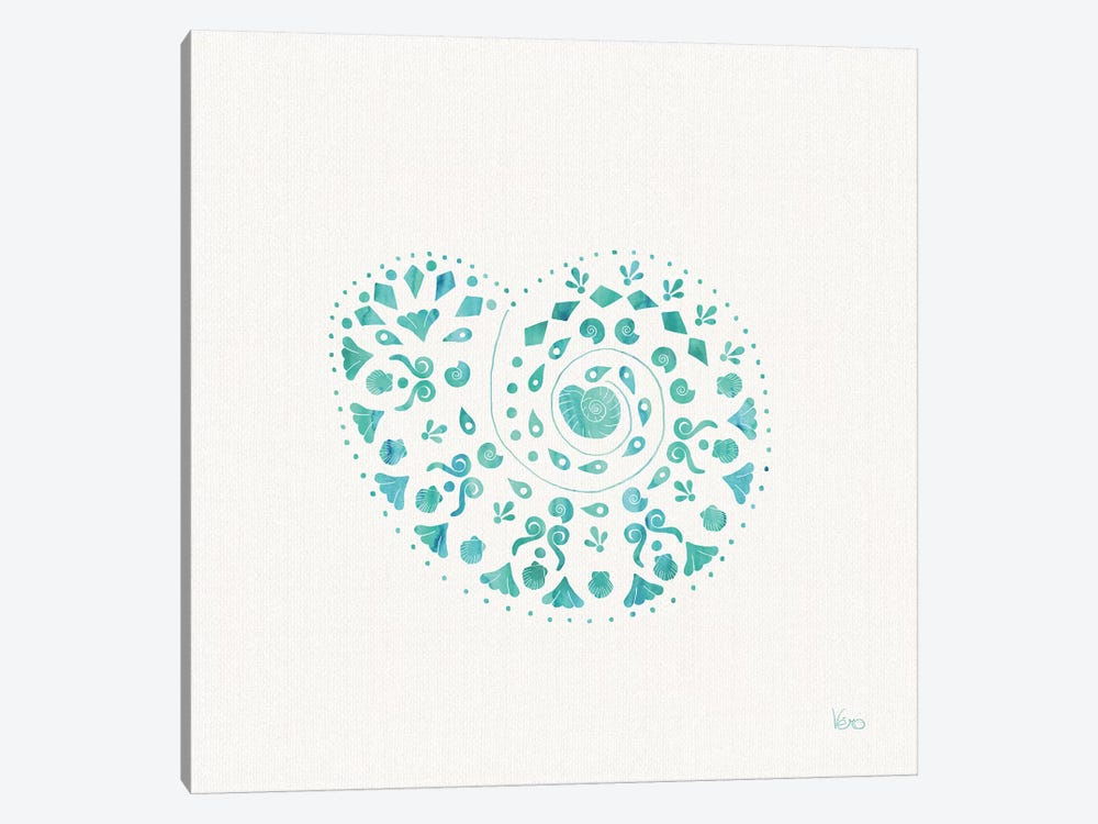Sea Charms IV Teal, No Words by Veronique Charron 1-piece Canvas Print