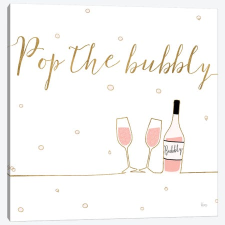 Underlined Bubbly VII 3-Piece Canvas #WAC8652} by Veronique Charron Canvas Wall Art