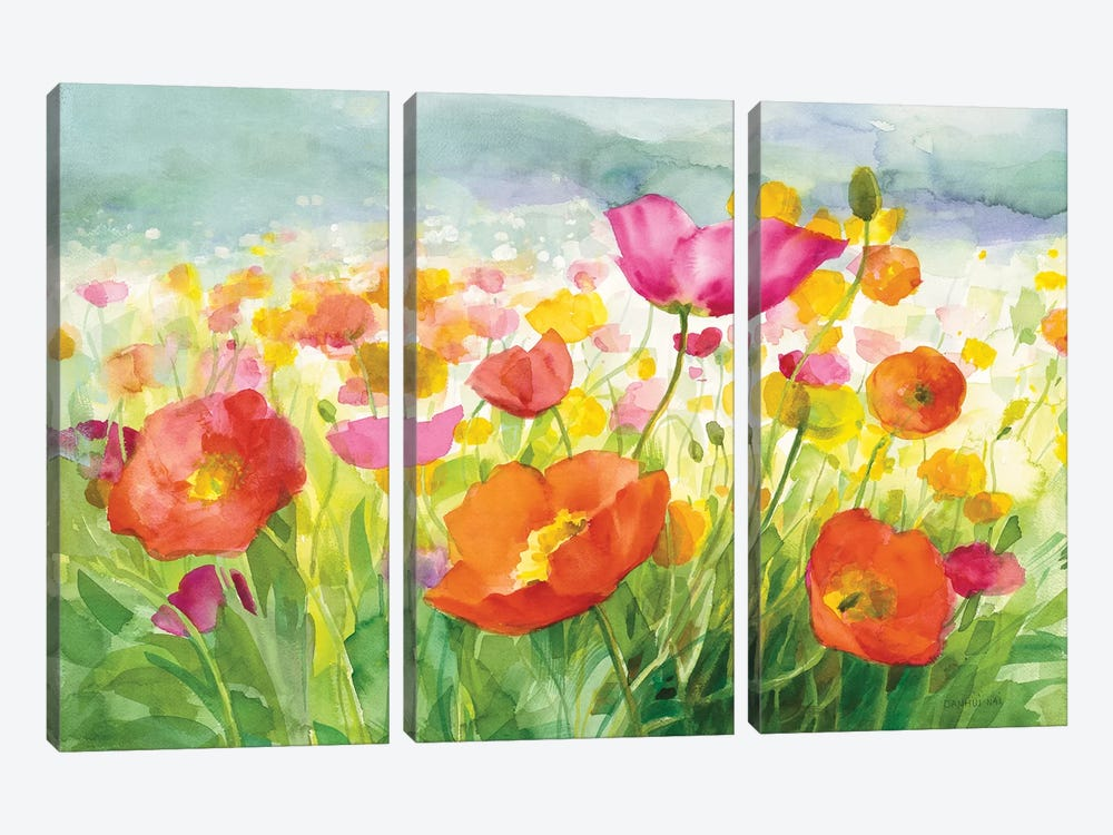 Meadow Poppies by Danhui Nai 3-piece Art Print