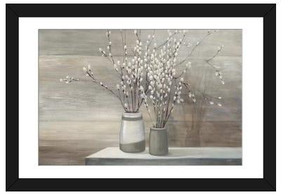 Pussy Willow Still Life Gray Pots Framed Art Print