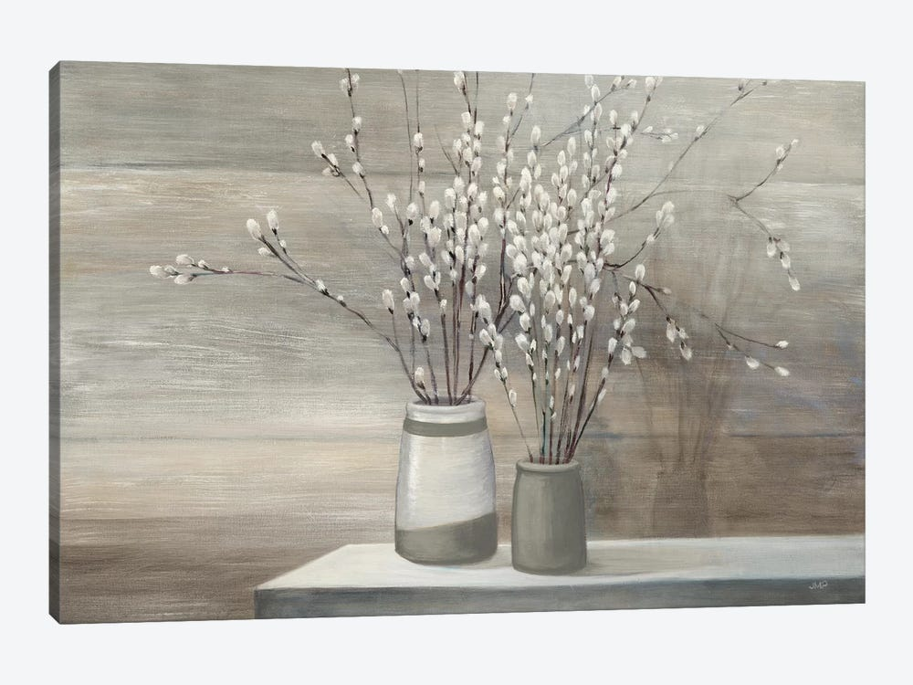 Pussy Willow Still Life Gray Pots by Julia Purinton 1-piece Canvas Art Print