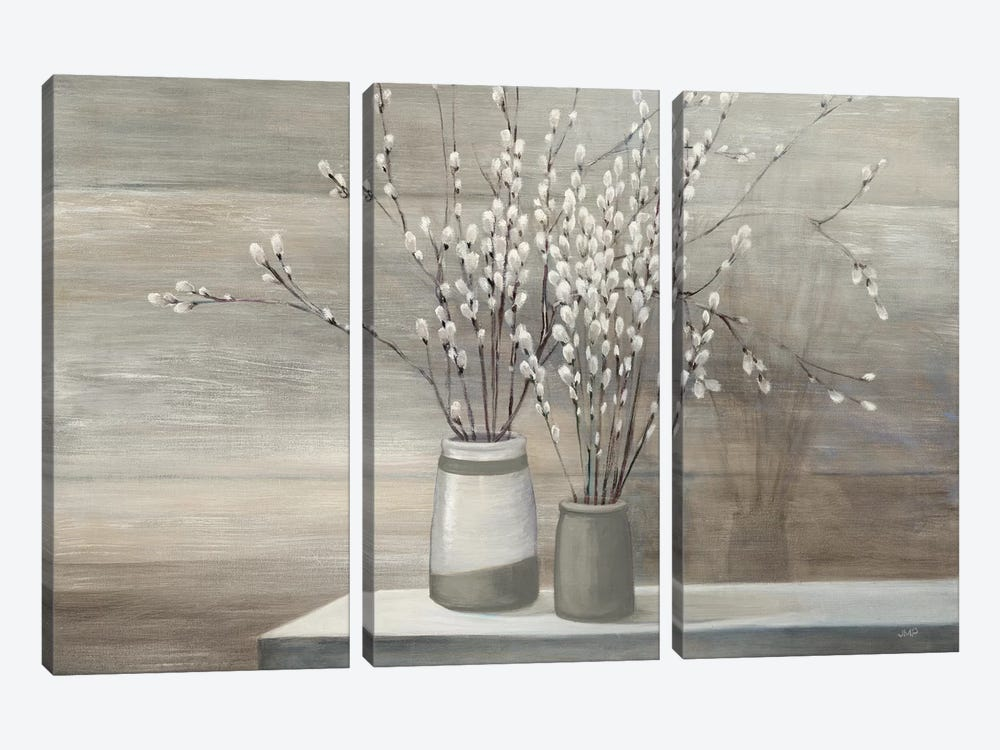 Pussy Willow Still Life Gray Pots by Julia Purinton 3-piece Art Print