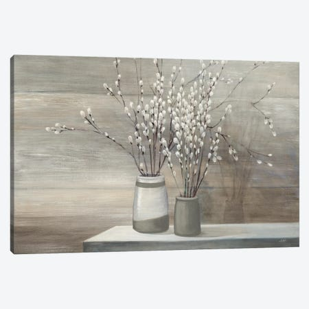 Pussy Willow Still Life Gray Pots Canvas Print #WAC8691} by Julia Purinton Canvas Artwork
