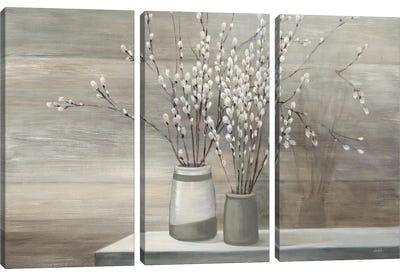 Pussy Willow Still Life Gray Pots Canvas Art Print