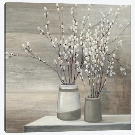 Pussy Willow Still Life Gray Pots Crop Canvas Print #WAC8692} by Julia Purinton Canvas Wall Art