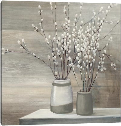 Pussy Willow Still Life Gray Pots Crop Canvas Art Print