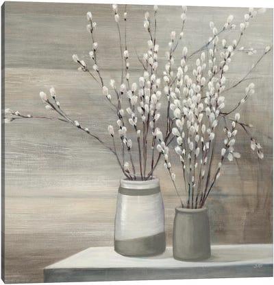 Pussy Willow Still Life Gray Pots Crop Canvas Art Print