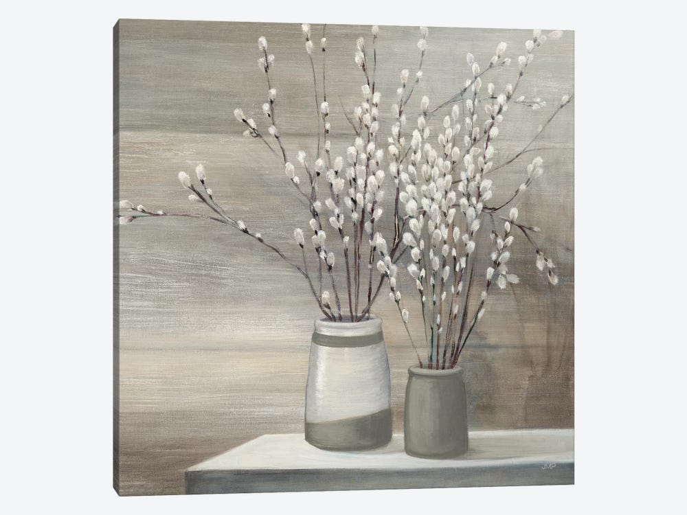 Pussy Willow Still Life Gray Pots Crop by Julia Purinton 1-piece Canvas Wall Art