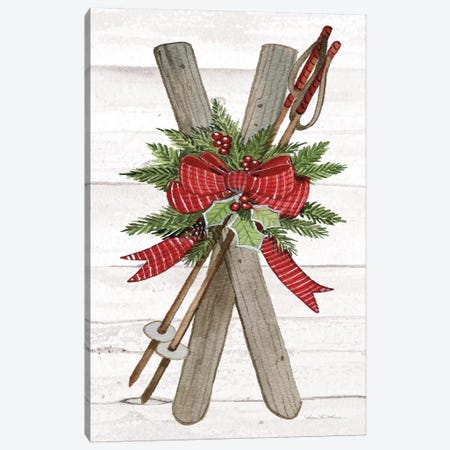 Holiday Sports IV On White Wood Canvas Print #WAC8696} by Kathleen Parr McKenna Canvas Art Print