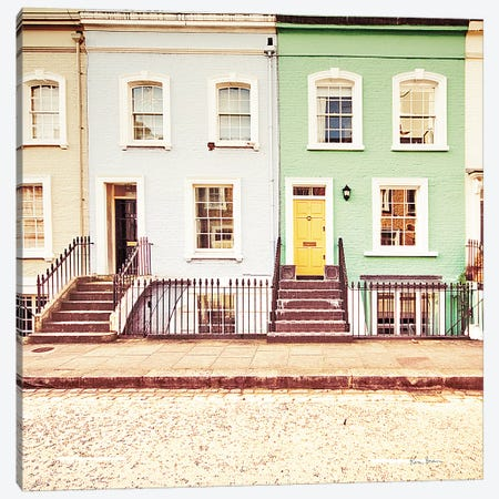 Chelsea Houses All Lined Up Canvas Print #WAC8698} by Keri Bevan Canvas Wall Art