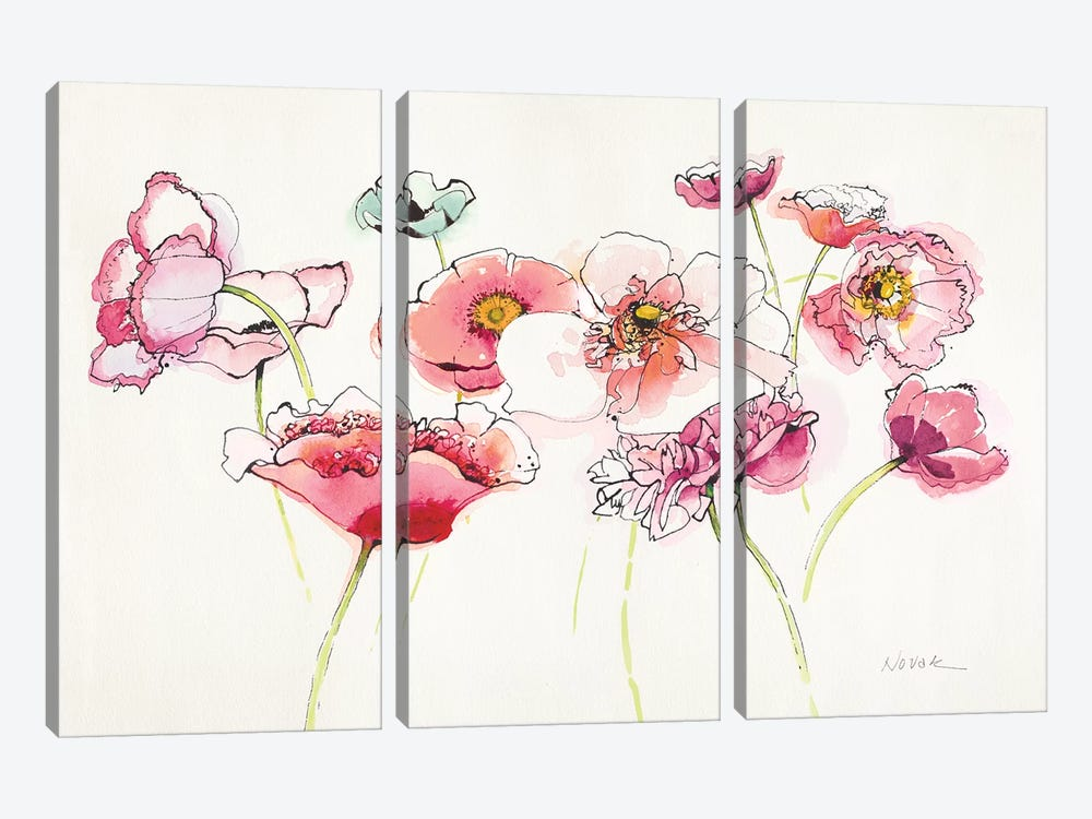 Pink Somniferums Bright II by Shirley Novak 3-piece Canvas Art Print