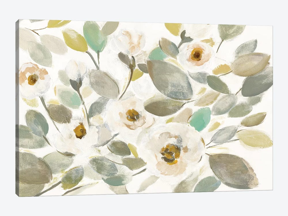 Blooming Branches II On White by Silvia Vassileva 1-piece Canvas Artwork