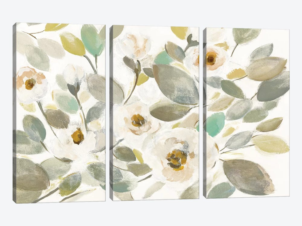 Blooming Branches II On White by Silvia Vassileva 3-piece Canvas Wall Art